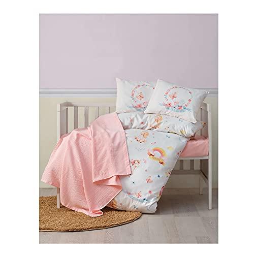Nurdanil Unicorn - Juego de funda de edredón y funda de almohada para bebé, de algodón, diseño moderno, color rosa