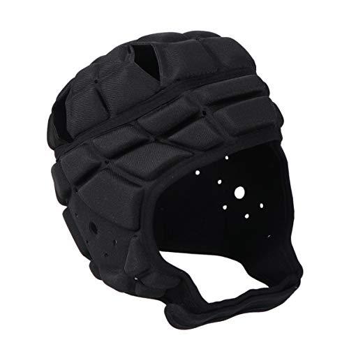LIOOBO Rugby Helm weich gepolsterte Kopfbedeckung Flagge fußball Helm fußball Torwart für Jugendliche Erwachsene (schwarz)
