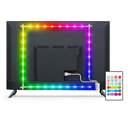 LED TV Backlight, MYPLUS 6.56ft Strip Lights with Remote Control and USB Powered, DIY Color Changing Bias Lighting with 6 Scenes Mode and 13 Basic Color for HDTV (32-58 Inch)
