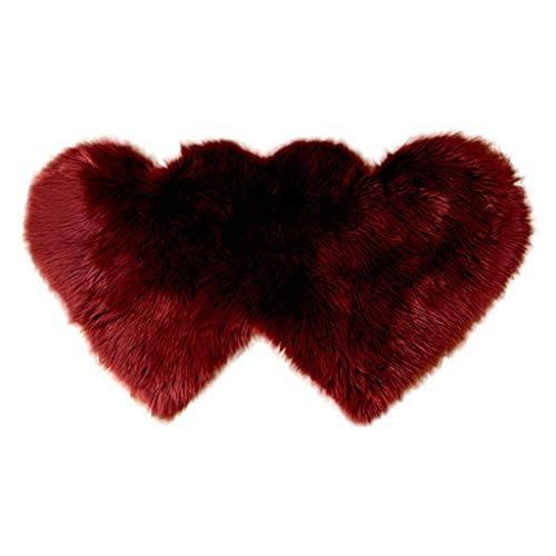 MIS1950s Living Room Carpet Double Hearts Faux Wool Plush Ultra-Soft Floor Mat Bedroom Non Slip Shaggy Imitation Sheepskin Rugs (L, Wine)