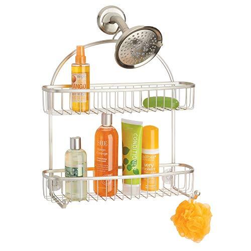 mDesign Duschablage zum Hängen – praktisches Duschregal ohne Bohren – 1 großer und 1 kleiner Duschkorb und 2 Haken aus Metall – mattsilberfarben