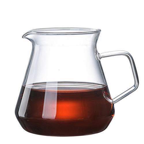 Jarra de agua de cristal con asa, jarra de té de cristal, jarra, tetera y jarra para café, zumo, agua helada y té de flores adecuado para tu nevera y cafetera (20 oz) (tamaño: 400 ml)