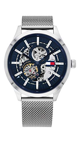 Tommy Hilfiger Reloj Analógico para Hombre de Automático con Correa en Acero Inoxidable 1791643