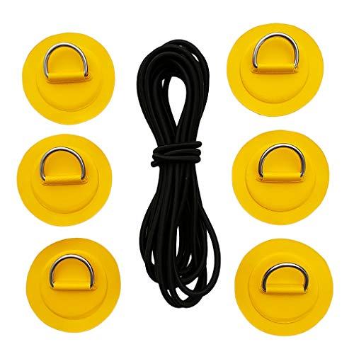 Toygogo 6X Kajak Edelstahl D Ring Patch Ersatz + 5m Schwarzer Bungee Cord Für PVC Rib Schlauchboot, Raft, SUP, Stand Up Paddleboard Deck Rigging Kit