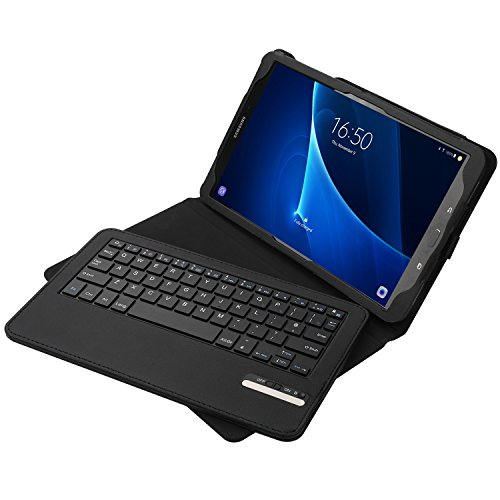 Keyboard Case for Galaxy Tab A 10.1 2016, Jelly Comb Bluetooth Keyboard Case Leather Case with Rechargeable Quiet Keyboard UK Layout QWERTY for Samsung Tab A 10.1 SM-T580/T585, Black