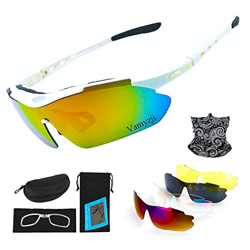 Vamyzji Polarized Sport Sunglasses with 5 Interchangeable Lenses, UV400 Protective Cycling Sunglasses for Men Women, Adjustable Sport Glasses Equipped with Scarf for Cycling Driving Running Fishing