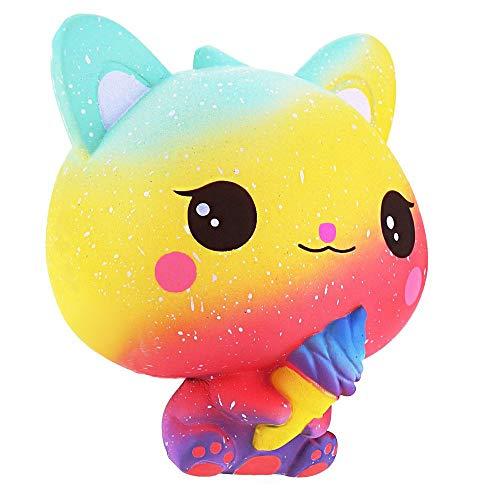 Squishie Gato helado arco iris multicolor juguete infantil lento antiestrés Squishy Rainbow Cat Ice Cream Slow Rising Kawaii Soft (10 x 8 x 11 cm)
