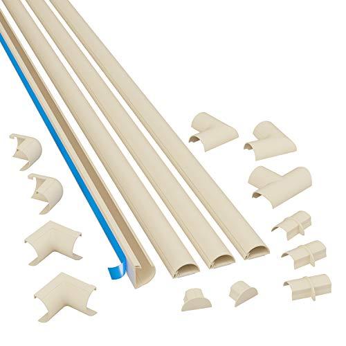 D-Line Mini 3015KIT003, Canaletas adhesivas de PVC para cables, Multipack de 4 piezas (30x15 mm) de 1 metro de longitud en color magnolia, Solución para organizar, proteger y cubrir cables