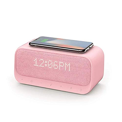 JIAMEIMEI USB Wireless Charging, Wake Up Bluetooth Speaker Alarm Clock Stereo Sound FM Radio White Noise, for Iphone Samsung bluetooth speaker grey (Color : -, Size : -)