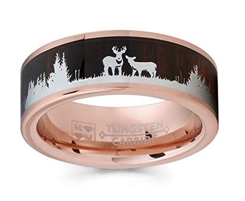 Metal Masters Co. Men's Rose Goldtone Tungsten Hunting Ring Wedding Band Wood Inlay Deer Stag Silhouette 10