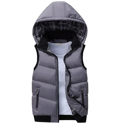 メンズベスト2022秋冬温暖なノースリーブジャケット男性コットンパッド入りベストキルティングコートジップフード付きウエストコート,グレー,XXL
