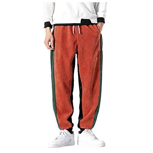 ZEZKT Herren Cord Cargohose Sweathose Dreifarbig Freizeithose Rot Schwarz Fitness Gym Elastische Taille Gürtel Baumwolle Jogging Sweat Hosen Plus Size Mode Lange Stripe Pants M-3XL