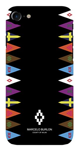 MARCELO BURLON COUNTY OF MILAN Cover/Custodia Compatibile con iPhone 8/7/6s/6 - MOD. Flags Side - Custodia Burlon Originale - Rigida - Finitura Soft Touch - Protezione Frontale rialzata