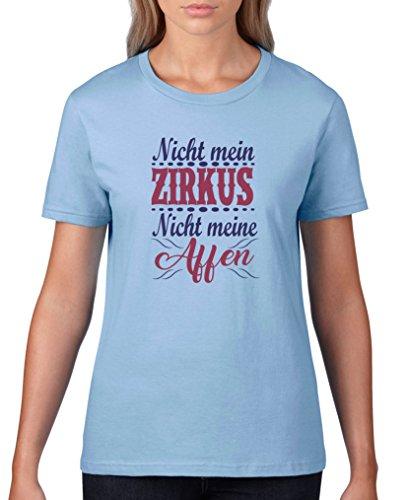 Comedy Shirts - Nicht mein Zirkus, Nicht Meine Affen - Damen T-Shirt - Hellblau/Lila-Fuchsia Gr. L