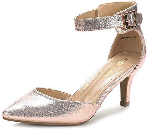 Dream Pairs Lowpointed Zapatos de Tacón Vestir para Mujer Champán 40 EU/9 US
