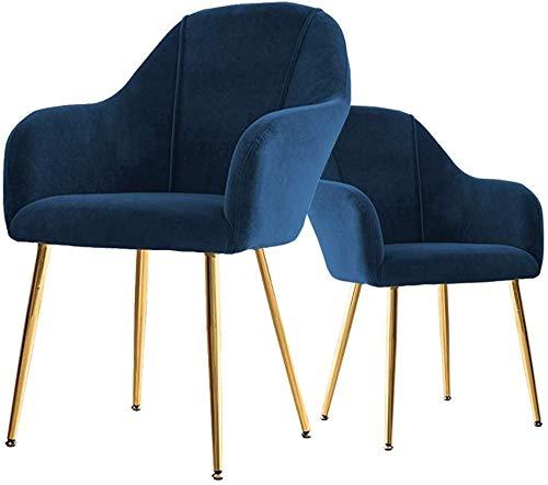 SZHWLKJ Conjunto de 2 contemporáneo Blue Velvet sillas con Patas de Metal del Oro Sillas de Cocina Comedor for Comedor,Sala de Estar sillas de Oficina de recepción,Azul