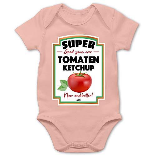 Shirtracer Karneval und Fasching Baby - Ketchup Kostüm Funny - 3/6 Monate - Babyrosa - Baby Funny - BZ10 - Baby Body Kurzarm für Jungen und Mädchen