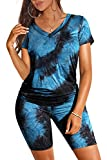 Biker Shorts for Women High Waist 2 Piece Loungewear Set Black XL