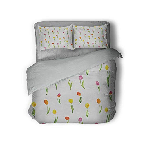 Luoiaax Watercolor Flower Hotel Luxury Bed Linen Colorful Tulips Pattern Country Style Floral Design Watercolor Effect Art Polyester - Soft and Breathable (Full) Multicolor