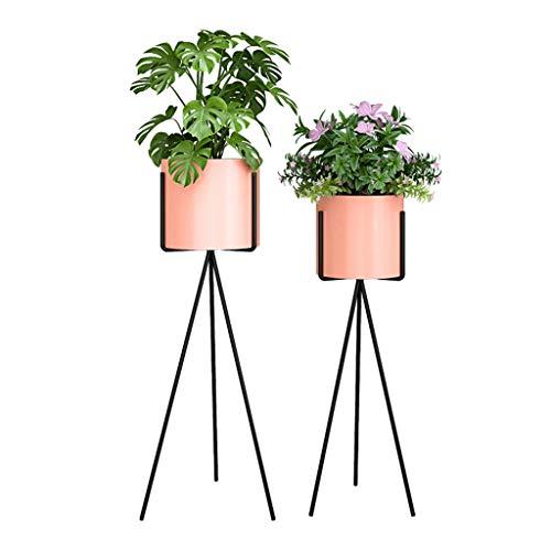 Liyin Bloemenstandaard, set van 2 smeedijzeren metalen planten, rechthoekig, bloempot, houder, bloem, standaard, plant, voor binnen en buiten, decoratie Set of 2 roze