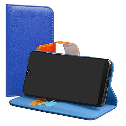 LiuShan Wiko View 2 Pro Hülle, Brieftasche Handyhülle Schutzhülle PU Leder mit Kartenfächer & Standfunktion für Wiko View 2 Pro (6 Zoll) Smartphone (mit 4in1 Geschenk verpackt),Deep Blau