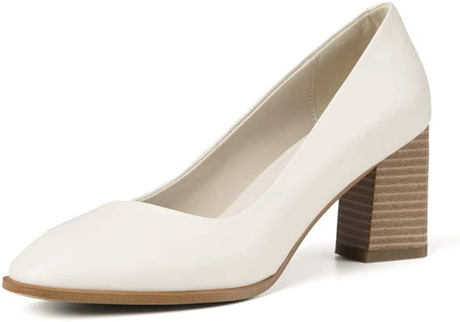 Nine Seven Women's Genuine Leather Square Toe Chunky Heel Handmade Glossy and Comfortable Spring Summer Pumps shoes (7, Beige)