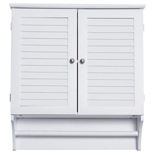 DASEXY Wandschrank Hängeschrank Küchenschrank Mehrzweckschrank Lamellentüren Holz Weiß 60 X 22,5 X 64 cm Einlegeböden