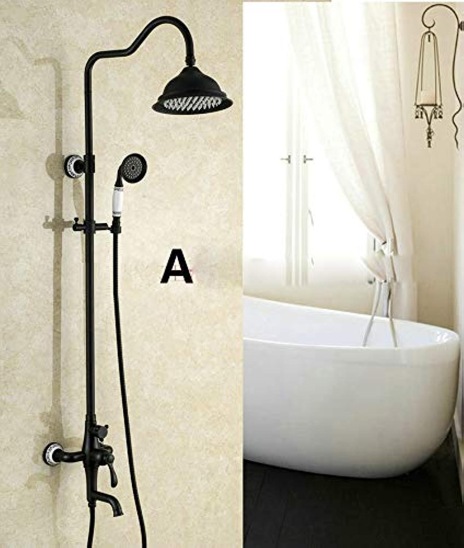 Badezimmer Antike Schwarze Farbe Massivem Messing Duschset Wandmontage 8 Regendusche Mischbatterie Wasserhahn 3-funktionen Mischventil, A
