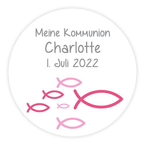 in due Aufkleber Fisch pink personalisiert für Kommunion, Konfirmation & Taufe - 24 Stück 4 cm