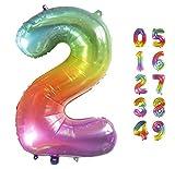 Globo Gigante Multicolor Numero de Cumpleãnos 2 I 101 CM Globo Años I Globo Numero 2 I Decoracion Fiesta Cumpleaños Niños I Globos Numeros Gigantes para Fiestas I Hinchar con helio o aire (Numero 2)