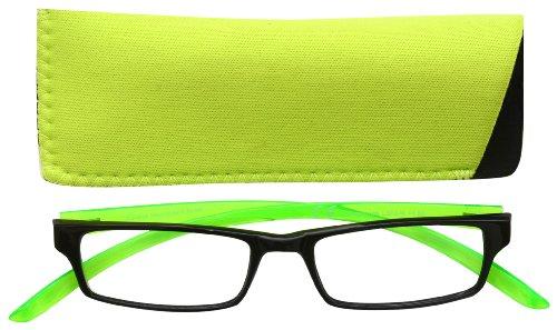 Uv Reader Negro Brillante Verde Cuello Gafas De Lectura Hombres Mujeres Uvr021 +1.00 - 50 g