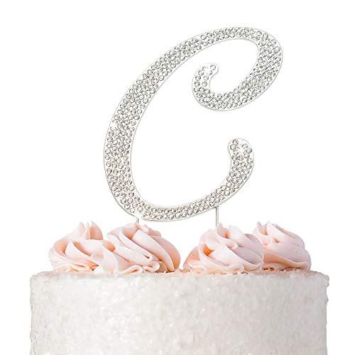 Letter C Cake Topper - Premium Silver Metal - C Monogram Wedding or Anniversary Party Sparkly Rhinestone Initial Decoration Makes a Great Centerpiece - Now Protected in a Box
