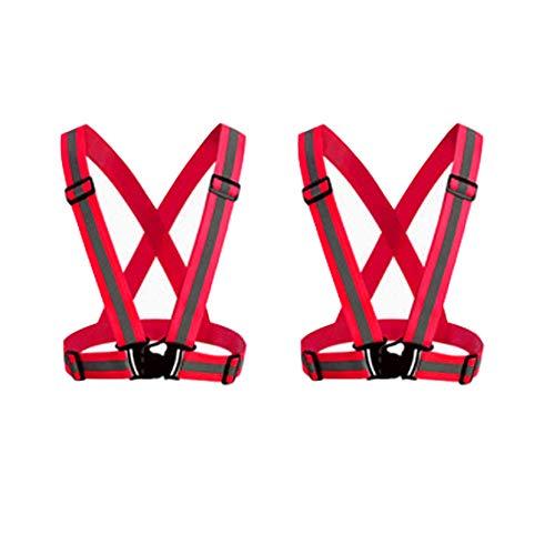 HYCOPROT Chaleco de Seguridad Reflectante para Adultos/Niños, Chaqueta de Chaleco de Trabajo Ajustable de Alta Visibilidad Equipo Deportivo de Alta Visibilidad, Paquete de 2 (Rojo)