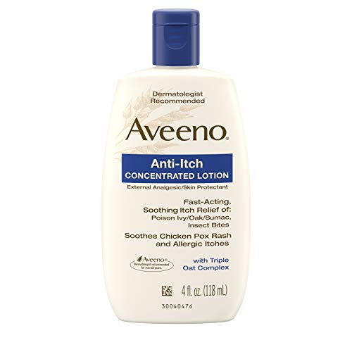Aveeno Anti-Itch Concentrated Lotion with Triple Oat Complex, Skin Protectant for Fast-Acting Itch Relief from Poison Ivy, Insect Bites, Chicken Pox, and Allergic Itches, 4 fl.oz ( Pack of 2)