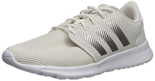 adidas Women's Cloudfoam QT Racer Running Shoe Track and Field, Cloud White/Platino met./ raw White, 7 Standard US Width US
