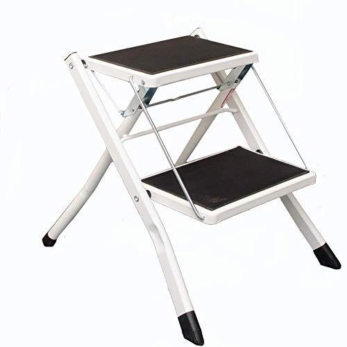 LBSX 2 Passo Sgabello Stepladders Leggero piegante Bianco Scala a pioli con Impugnatura Antiscivolo Robusta e Wide Pedal Steel Ladder Mini-Stool