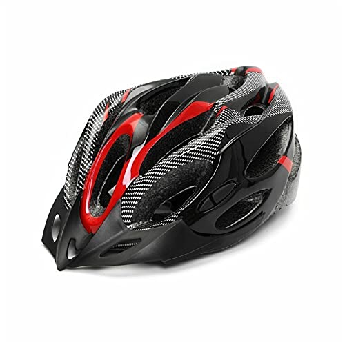 LJLCD helmet Bicycle Helmets Matte Black Men Women Bike Helmet Mountain Road Bike Integrally Molded Cycling Helmets Strong safety performance, high comfort, easy to w (Color : Red)