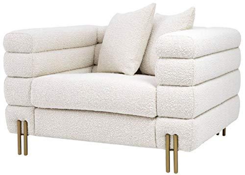 Casa Padrino sillón Art Deco de Lujo Crema/latón 109 x 97 x A. 68 cm - Sillón de salón Moderno - Muebles de Lujo