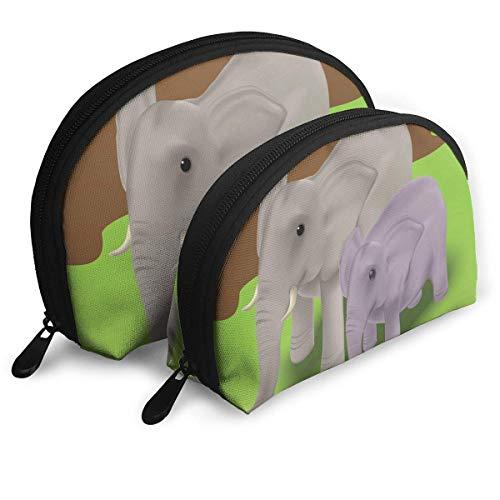 Maquillage Sac Mère Éléphant Avec Son Bébé Éléphant Veau Sac De Rangement Portable Shell Pour Les Filles Voyage 2 Pack