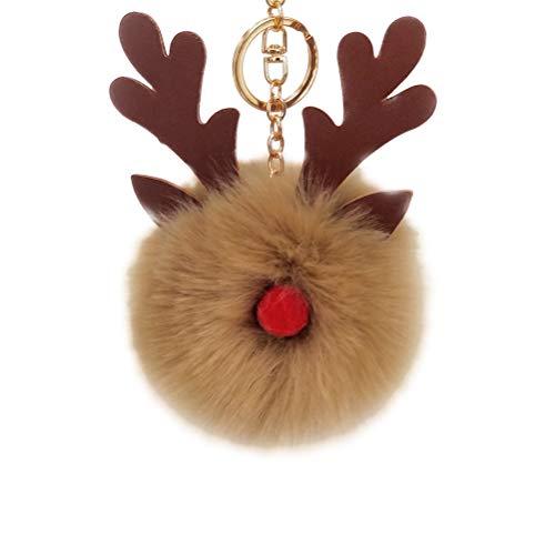 BESTOYARD Weihnachten Schlüsselanhänger Plüsch Elch Bommel Anhänger Fellbommel Taschenanhänger Pompom Keychain Rentier Schlüsselbund für Handtasche Schlüssel Auto Rucksack (Khaki)
