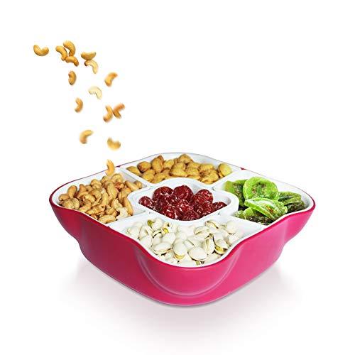 Plateau de service créatif durable multi-sections avec couvercle et 5 compartiments amovibles pour apéritif, salade, fruits secs, noix et bonbons (rose)