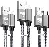 Câble USB C [1/1,5/2M,Lot de 3] Chargeur Type C Cordon Charge Rapide Nylon Tressé pour Téléphone...
