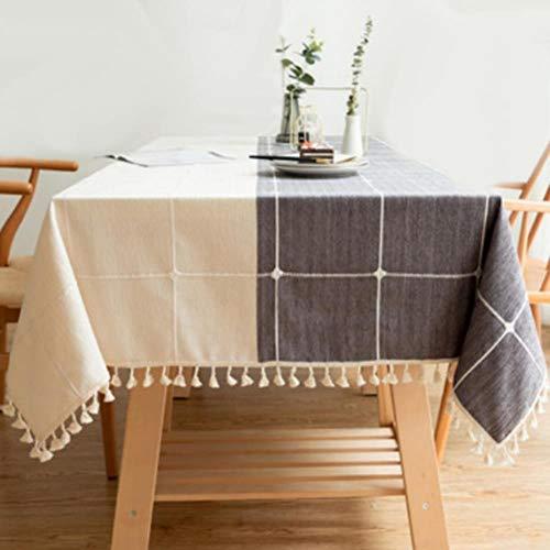 Mantel cuadrado de algodón y lino de tela rectangular Manteles de mesa cubierta de mantel de tela para fiesta, cocina decoración de Navidad