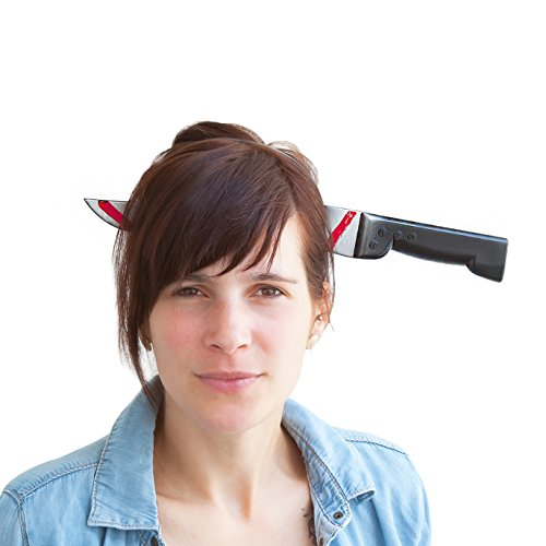Oblique Unique® Messer im Kopf Haarreifen - Halloween Prank Grusel Horror