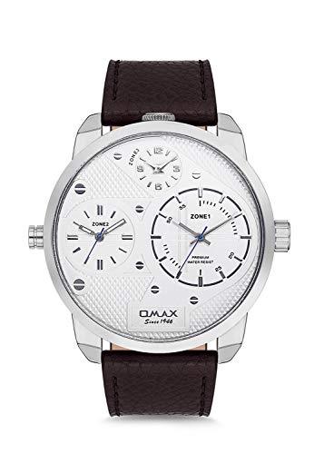 Omax Herren-Armbanduhr mit DREI Zeitzonen, echtem Lederarmband, Analog, japanischem Quarz, Schnallenverschluss, 3 ATM wasserdicht (Silbernes Zifferblatt weißes Gesicht schwarzes Lederband)