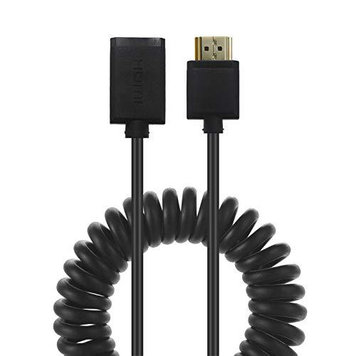 LOKEKE Cable HDMI 2.0 en espiral de 4K, HDMI hembra a HDMI macho 2.0, adaptador de cable compatible con retorno de audio compatible con monitor, proyector, escritorio(1,8m)