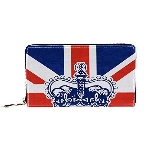 XCNGG Damen Reißverschluss um Brieftasche und Telefon Clutch, British Crown Print, Reisetasche Leder Clutch Bag Kartenhalter Organizer Wristlets Wallets
