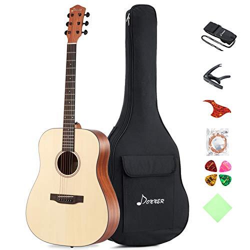 Donner Akustik Gitarre Starter Set Full Size, Akustikgitarre Dreadnought 41 Zoll Natur Mahagoni Fichte mit Tasche Capo Plektren Gurt Saiten (DAG-1)
