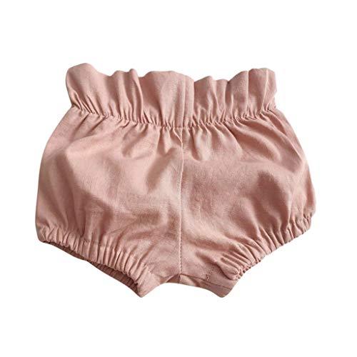 Shorts pour Bébé Fille Garçons Solide Bloomers Pantalon Courte Volants Sarouel Casual Mode 0-3 Ans Sunenjoy (12-18 Mois, Rose)