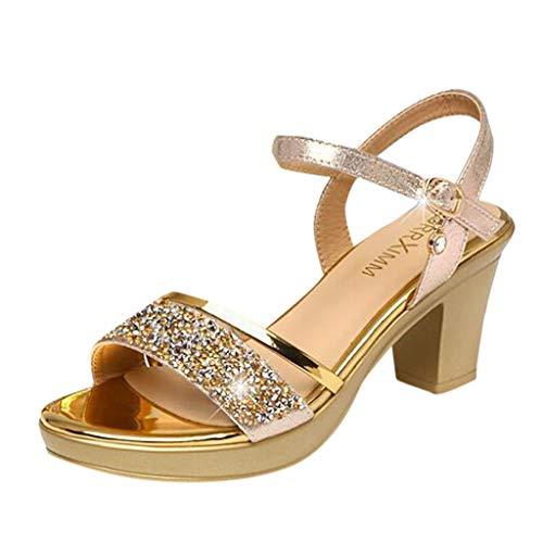 URIBAKY Ladies Fashion Crystal élégante Boucle de Talon carré Femmes Chaussures Romaines Sandales